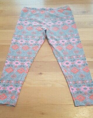 Girls grey and pink patterned cropped leggings age 9 years next