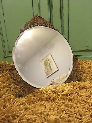 VINTAGE  BARBOLA DRESSING TABLE Gold Gilt Round Beveled MIRROR EASEL STAND