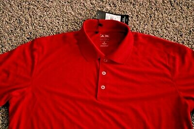 NWT Mens Adidas Puremotion SS logo Golf Shirt, Red, Size XL