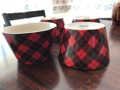 222 Fifth Wexford Red Christmas Plaid Set of 4 Appetizer Dessert Bowls EUC