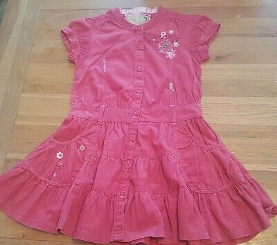Girls pink corduroy dress flower pattern with pockets age 8 next button front