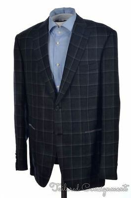 NWT $5,675 -BRIONI Dark Gray Check CASHMERE SILK Blazer Sport Coat Jacket - 42 R