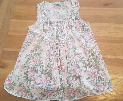 Girls long vest style blouse green pink& silver flowery button front age 10 next