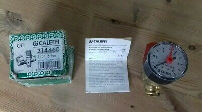 """CALEFFI 314460 Safety Relief Valve 6 Bar 1/2"""" with Gauge M x F"""