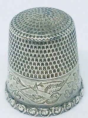 Antique Goldsmith Stern Sterling Silver Thimble Flying Bird Etched Floral Design