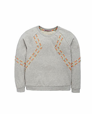 Girls grey long sleeve jumper sweatshirt with aztec detail ages 9 to 14 years