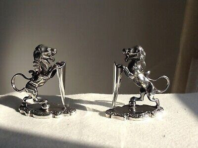 Antique Silver Plated Walker & Hall Sheffield Lion And Shield Menu Holders Rare