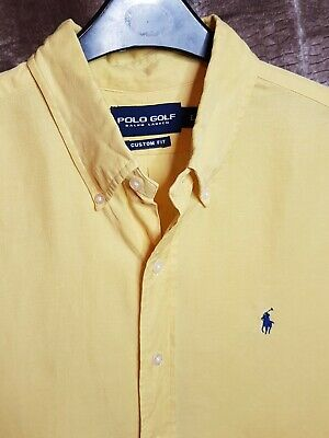 Polo By Ralph Lauren Mens Shirt Yellow Large Short Sleeve