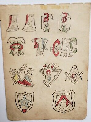 original antique vintage tattoo flash 1900 wh wilson sailor fraternal ioof 5x7.5