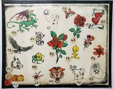 vintage 80s unknown production tattoo flash tiger rose dragon heart colors:monk