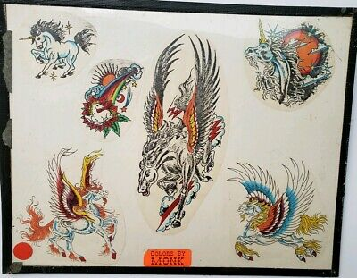 vintage 80s unknown production tattoo flash unicorn freaky fantasy colors:monk