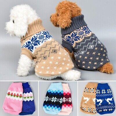 Pets Dog Winter Warm Jumper Pullover Sweater Small Medium Dogs Clothes Outwear