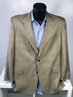 LIGHT TAN BROOKS BROTHERS Mens 44 R SILK LINEN WOOL HOUNDSTOOTH Blazer Jacket