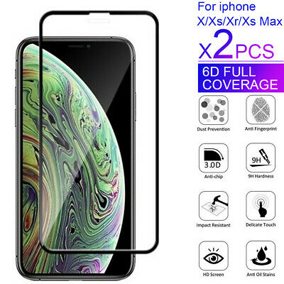 2X For Apple iPhone XS Max XR X 6D Full Cover Screen Protector Tempered Glass