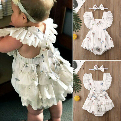 AU My First Christmas Newborn Baby Girl Clothes Ruffle Lace Deer Romper Outfit