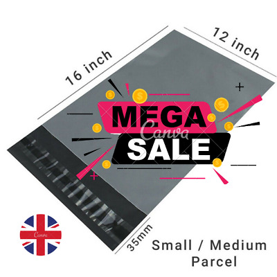 "Strong cheapest Mailing Bags 12"" X 16"" Extra Large Grey Plastic Postal Bags UK"