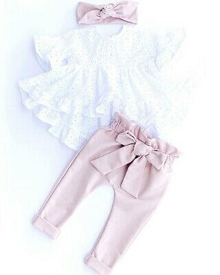 AU 3Pcs Newborn Kid Baby Girl Clothes Short Sleeve Top T-Shirt Pants Outfit New