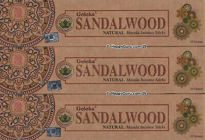'Sandalwood' 3 Packets Goloka Natural Masala Incense Sticks 45g 15g x3 Packets ॐ