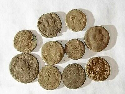 10 ANCIENT ROMAN COINS AE3 - Uncleaned and As Found! - Unique Lot 25705