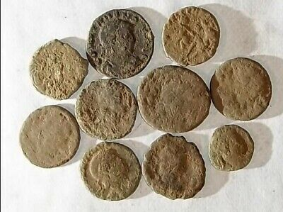 10 ANCIENT ROMAN COINS AE3 - Uncleaned and As Found! - Unique Lot 25706