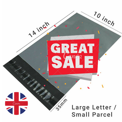 "Strong cheapest Mailing Bags 10"" X 14"" Extra Large Grey Plastic Postal Bags UK"