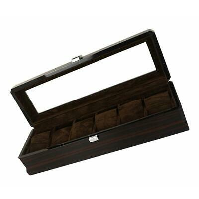 6Slot Wooden Watch Display Case Glass Top Wristwatch Storage Box Organizer