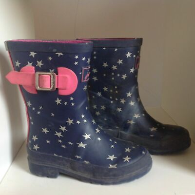 Joules Girls Navy Blue White Star Print Rubber Wellies - 11