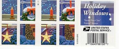 """ONE BOOK OF 20 """"Holiday Windows"""" USPS FIRST CLASS FOREVER POSTAGE STAMPS B1111"""
