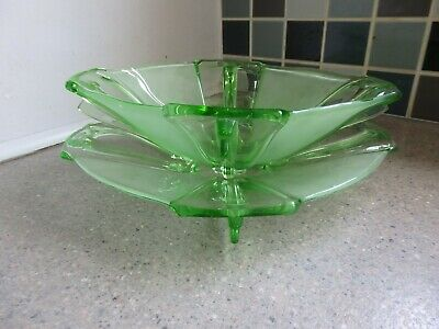 Art Deco Stölzle Green Glass 'Winged' Plate & Bowl 1930's