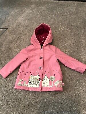 Girls pink Mothercare coat age 2-18 months, waterproof in excellent condition