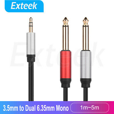 """3.5mm 1/8"""" TRS to Dual 6.35mm 1/4"""" TS Mono Stereo Y Splitter Cable 1.5M~5M"""