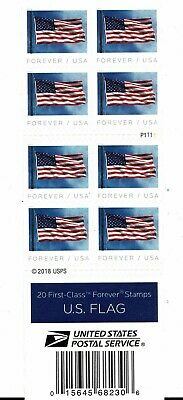 ONE BOOK OF 20 U.S. FLAG 2019 USPS FIRST CLASS FOREVER POSTAGE STAMPS / damage