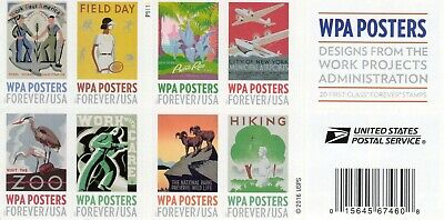 ONE BOOK OF 20 WPA Posters USPS FIRST CLASS FOREVER POSTAGE STAMPS