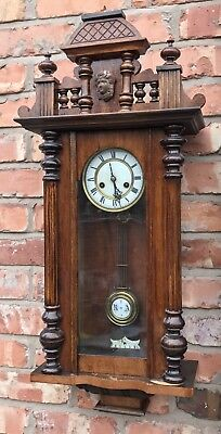 Lovely Small Vienna Style Antique Wall Clock 8 Day