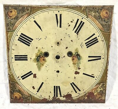 "Lovely Square Long Case Grandfather Clock Dial Flowers 14"" By 14"""