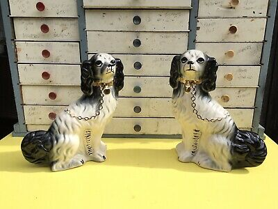 Antique Pair Staffordshire Pottery Mantle Wally Dogs Black & White Spaniels