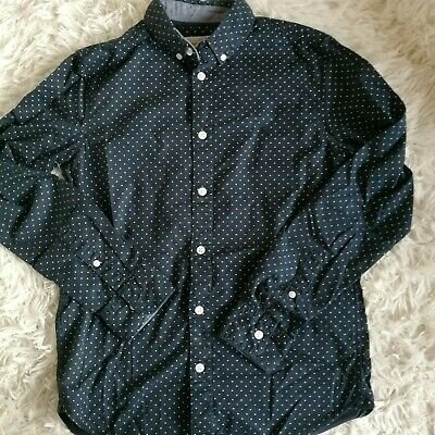 H&M LOGG Girls Dark Blue Spotted Long Sleeve Cotton Shirt Blouse Age 12-13