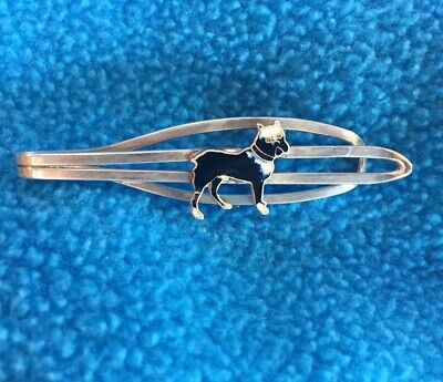Antique Boston Terrier Tie Clip Sterling Silver And Enamel