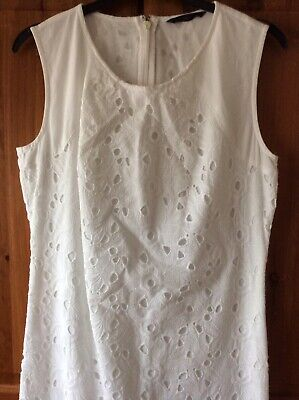M&S White Cotton Shift Dress Size 8 Broderie Anglaise Holiday Knee Length