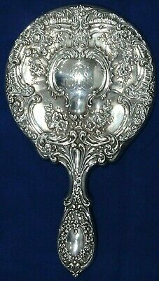 Antique Gorham Sterling Silver Buttercup Repousse Hand Mirror Monogramed