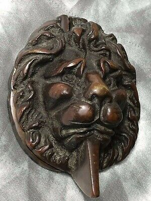 1 Architectural Antique Small William IV Cast Bronze Lion Head Wall Door Knocker