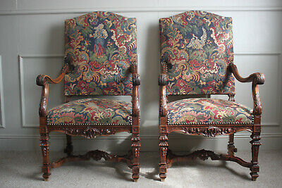 Pair of Large armchairs / thrones Louis XIV Style