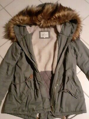 DAMEN PARKA LONGJACKE Review M 38 40 Khaki Winter Jacke