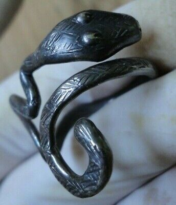 Ancient Antique Roman Silver Ring Snake FANTASTIC DETAILS WEARABLE UNIQUE