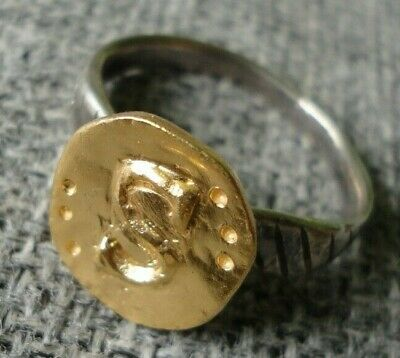 "Antique Ancient Roman Gold Silver ring Inscribed Latin letter "" S "" Very Fine"