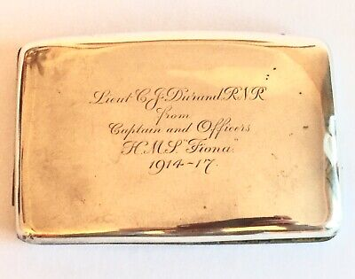 Antique Solid Silver Sterling Cigarette Case World War 1 WW1 London 1916