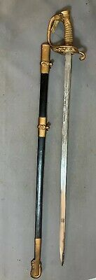 Antique WWI USN ID'd NAVY OFFICER Style WM LEHMBERG Old PRESENTATION Naval SWORD