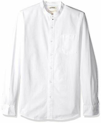 Men's Casual Slim Fit Long Sleeve Band Collar Oxford Shirt White Size Lg Large
