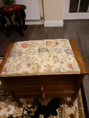 Excellent piano stool with tapestry upholstery and storage for music books
