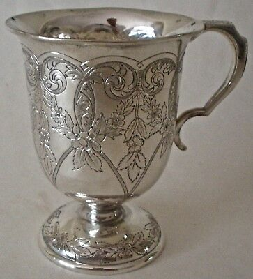 Fantastic S Kirk & Son Co Sterling Hand Chased Floral Repousse Childs Cup C 1905